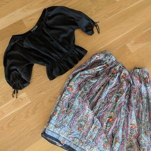 Vintage Leo Narducci peasant top and paisley skirt